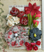 RED BLACK & CREAM 15 Flowers & Roses 7 Styles PAPER & SILK 15-70mm VD4