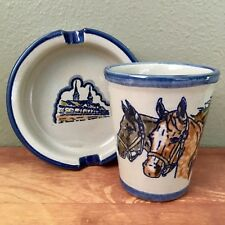 LOUISVILLE STONEWARE Kentucky Derby Cup / Mug & Dish. Horses & Stands. EXCELLENT