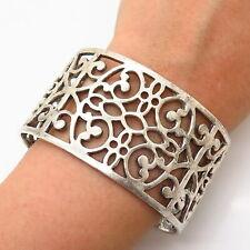 """Wide Cuff Bracelet 6 3/4"""" 925 Sterling Silver Vintage Ornate Design"""