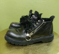 HARLEY DAVIDSON DOUBLE ZIP-UP LACE-UP ANKLE BOOTS WOMENS SIZE 6 BOYS SIZE 4 RARE