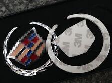 2PCS 3D car side Metal Badge Emblem for Cadillac Decal Sticker Logo Silver color