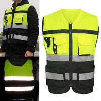 Hi-Vis Safety Vest Reflective Driving Jacket Worker Night Security Waistcoat