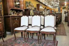 6 French Antique Louis XV Walnut Chairs w New Upholstery | Dining Room Furniture