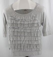 Hollister Womens Ladies Grey Ruffle Lace Elbow Length Sleeve Blouse Top Size S