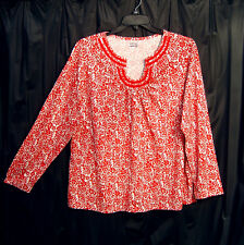 100% COTTON SOFT STRETCH KNIT LONG SLEEVE FLORAL SMOCK TOP T-SHIRT BLOUSE~1X~NEW
