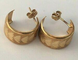 Pair Vintage 9K Carat Gold Pierced Earrings 1980