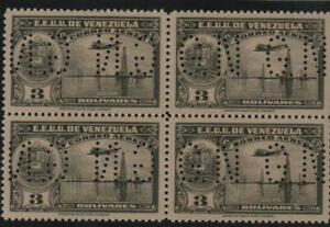 "Venezuela: 1938; Scott OAC109 Val. 3bs gray in block 4, double ""GN"" +... VZ0965"