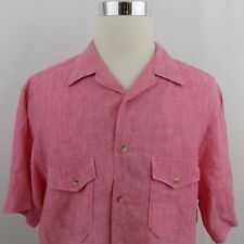 Paul Fredrick Men's Size XL Pink 100% Linen Short Sleeve Button Front Shirt