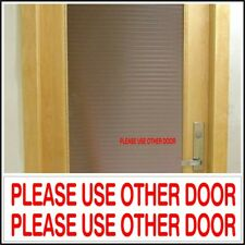 Office Shop Decal Please Use Other Door business entrance glass door sign Red