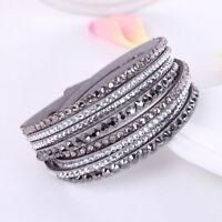 Leather Bracelet Rhinestone Crystal Bracelet Wrap Multilayer Bracelets 2019 New