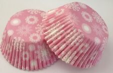Pink Snowflake Baking Cup Cupcake Liner Paper 24 COUNT Winter Frozen Snow