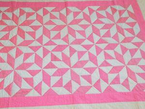"""Vintage Pinwheel Star Handmade Hand stitched QUILT 55"""" x 72"""" Pink White/Cream"""