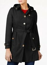 MICHAEL MICHAEL KORS Woman's Black Cotton Hooded Trench Raincoat Size S