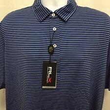 Ralph Lauren RLX Mens Wicking Striped Golf Polo Shirt Large Navy Blue NWT $89.50
