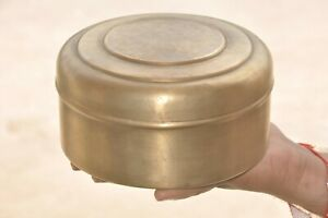 Old Brass Solid Handcrafted 7 Compartment Round Shape Spice Powder Box