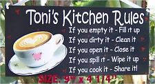 COFFEE   KITCHEN RULES SIGN/PLAQUE PERSONALIZED ANY NAME WALL COUNTRY DECOR
