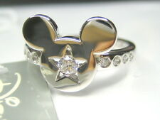 sz 7,8,9   0.28CT AUTH DISNEY MICKEY MOUSE STAR CZ STERLING SILVER PLATINUM RING