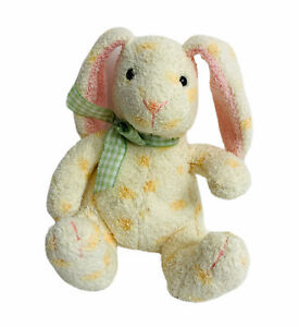 Russ Berrie Jellybean Easter Bunny Plush Rabbit White Yellow Polka Dot 5""