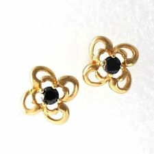 Pretty New Yellow Gold Filled Round Black Onyx CZ Flower Stud Post Earrings
