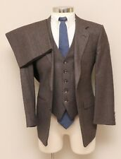 Mens 38S Halston 3 Piece Brown Stripe Wool Suit