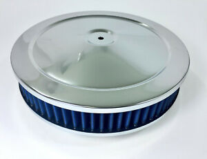 "Chrome Air Cleaner 10"" x 2"" Chevy Mopar Ford Hot Rod Washable Filter BLUE"