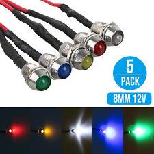 5 x Car Boat 12V 8mm LED Indicator Light Pilot Dash Dashboard Panel Warning Lamp