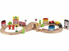 Wooden Train Set Toy -75 Piece - BRIO Compatible - Train track- Chad Valley