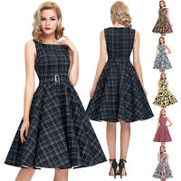 Vintage 50's 60S Style Dress Party Swing Pin up Casual Retro Skirt S M L XL#J