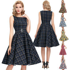 Vintage 50's 60s Style Dress Party Swing Pin up Casual Retro Skirt Housewife Tea