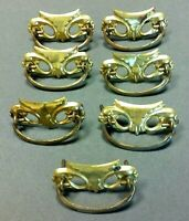 ANTIQUE Drop BAIL PULLS Handles Pressed TIN Gold Tone RARE Victorian Drawer Vtg