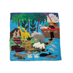 """Vintage Hand Embroidered 3D Noah's Ark Quilted Square """"Arca de Noe"""" 10""""x10"""""""