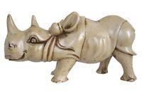 "Rhino Statue Large Rhinoceros Figurine African Safari Home Office Decor 10.75"""