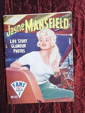 "JAYNE MANSFIELD   ""FANS STAR LIBRARY"" MAGAZINE   LIFE STORY  #43  1960"