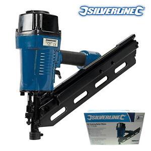 Silverline 90mm Air Framing Nailer Nail Gun For Roofing Fencing Decking Flooring