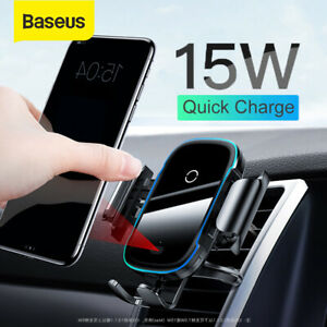 Baseus 15W Wireless Car Charger phone Holder Infrared Sensor GPS Mount Cradle