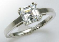 1 ct Asscher Ring  Brilliant CZ Imitation Moissanite Simulant S Silver Size 7