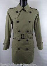 AQUASCUTUM Light Olive WALTON Rain Trench Coat sz 44 RRP £795 Made in UK