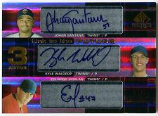 2004 SP Prospects JOHAN SANTANA Kyle Waldrop Ed Morlan RC Triple Auto Twins #/50