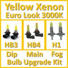 Warm White 3000K Yellow Xenon Headlight Bulb Set Main Dip Fog HB3 HB4 H1 Kit