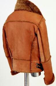 Rare Dirk Bikkembergs Shearling Genuine Sheepskin Leather Jacket Tan Brown M L