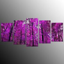 FRAMED Home Decor Canvas Painting Print Art Purple Forest Wall Art Picture-5pcs