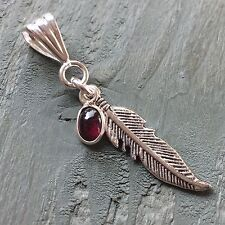 Silver Plated Garnet Tibetan Feather Pendant Wicca Pagan Spiritual Native goth