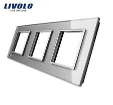 3 Fach Glas Rahmen GRAU für Livolo Einsätze Steckdose TV SAT USB TEL LAN