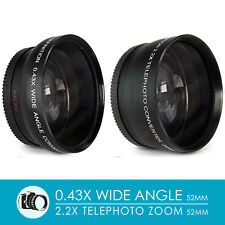 52MM Wide Angle & 2.2X Telephoto Lens for Nikon D7100 D5200 D3300 D3200 D3100