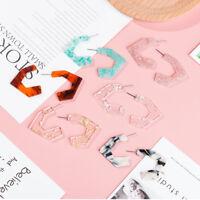 Fashion Women Eardrop Acrylic Heart Geometry Earring Ear Stud Jewelry Earrings