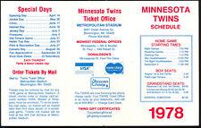 1978 MLB Baseball Minnesota Twins Pocket Schedule UNMARKED & UNUSED NM Original