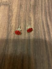 Red Zirconia Bling Stuffed Earrings Sterling Silver