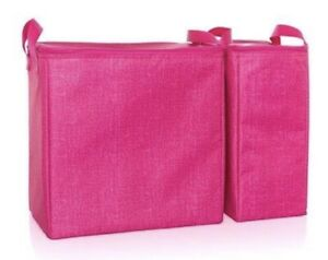 *NEW* Thirty One DOUBLE CHILL THERMAL Set Tote Bags IN PINK CROSSHATCH.