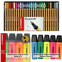 STABILO BOSS ORIGINAL Pens Highlighters Wallet Pack of 4 or Various Colours