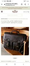 New King Ranch Genuine Chocolate Brown leather briefcase Product # 220170